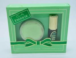 Emeraude Vintage Coty Set Cologne Spray 1.1 oz & Dusting Body Powder 1.75 oz New - $59.28