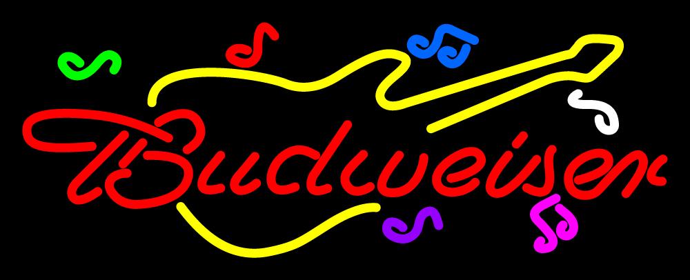"""Budweiser Guitar Neon Sign 16\"""" x 16\"""" - Neon"""