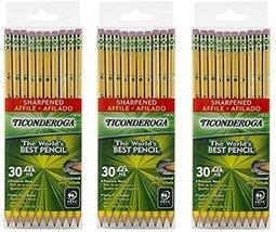 Dixon Ticonderoga Wood-Cased 2HB Pencils, Pre-Sharpened, Box of 30, Yell... - $45.49