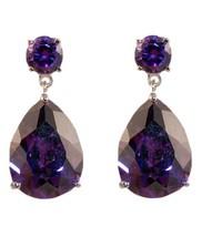 Tear Drop Amethyst Cubic Zirconia Dangle Earrings 28 Mm - $24.74