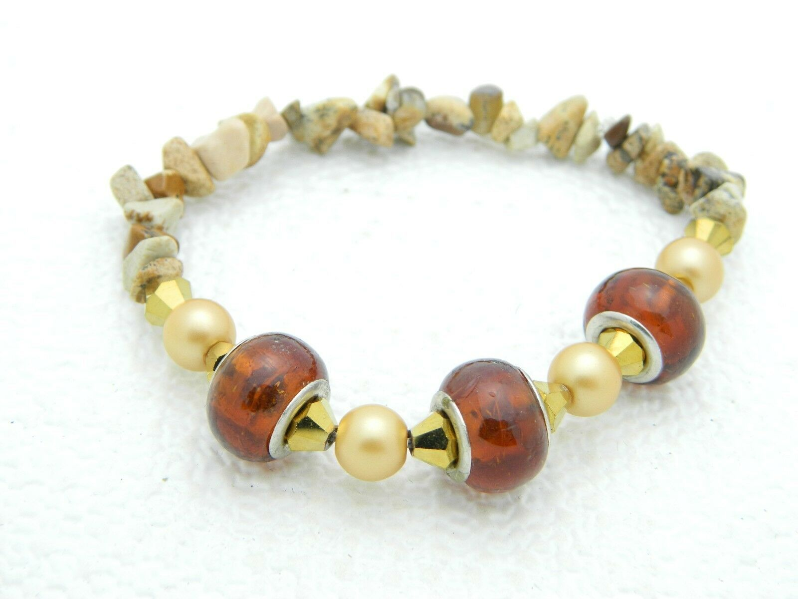 VTG Polished Stone Faux Amber Gold Tone Bead Stretch Bracelet