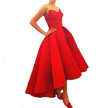 Fanmu Sweetheart High Low Satin Prom Dresses Formal Evening Gowns Red US 18plus - $119.99