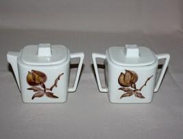 Orchard Ware Magnolia Creamer Sugar Bowl Lids Brown Flower Square Califo... - $9.50