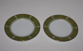 2 Noritake Eroica Green Bread Plates Gold Leave... - $9.50