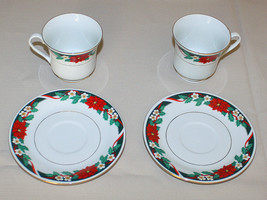 2 Cups & Saucers Tienshan Deck the Halls Poinsettia Green Gold Verge Chr... - $8.42