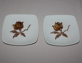 "2 Orchard Ware Magnolia 6"" Bread Plates Brown Flower Square California - $9.85"