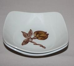 2 Orchard Ware Magnolia Fruit Dessert Bowls Brown Flower Square California - $4.50