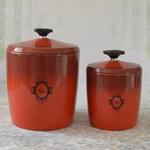WEST BEND Aluminum Canister Set Ombre Red Poppy Flour Sugar Containers w... - $12.69