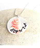 Flower Girl Necklace with Flower Girls Handstamped Personalized Name Nec... - $14.10