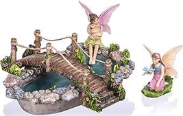 Joykick Fairy Garden Fish Pond Kit - Miniature Hand Painted Figurine Sta... - $40.94