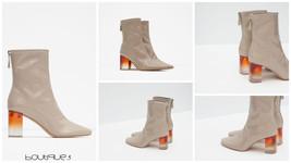 Zara Nude Beige Sand Transparent High Heeled Pa... - $49.99
