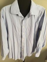Michael Kors Dress Shirt 17.5 34/35 Large - Blue White Checked Cotton Me... - €19,96 EUR
