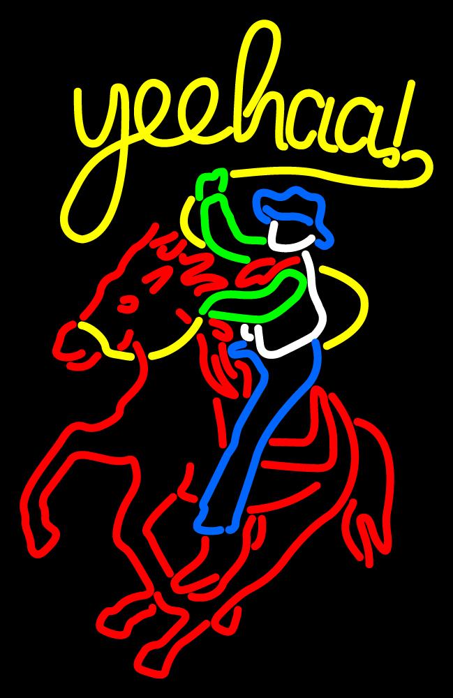 """Cowboy Riding Horse Neon Sign 24"""" x 24"""" - Neon"""