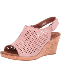Rockport Women's Briah Perforated Slingback Wedge Sandals Pink Metallic 8.5 W - $58.99