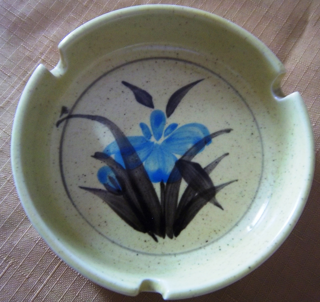 Primary image for 1960's Vintage Hand Painted Floral Ashtray, Yellow, Green, Light Blue Flower