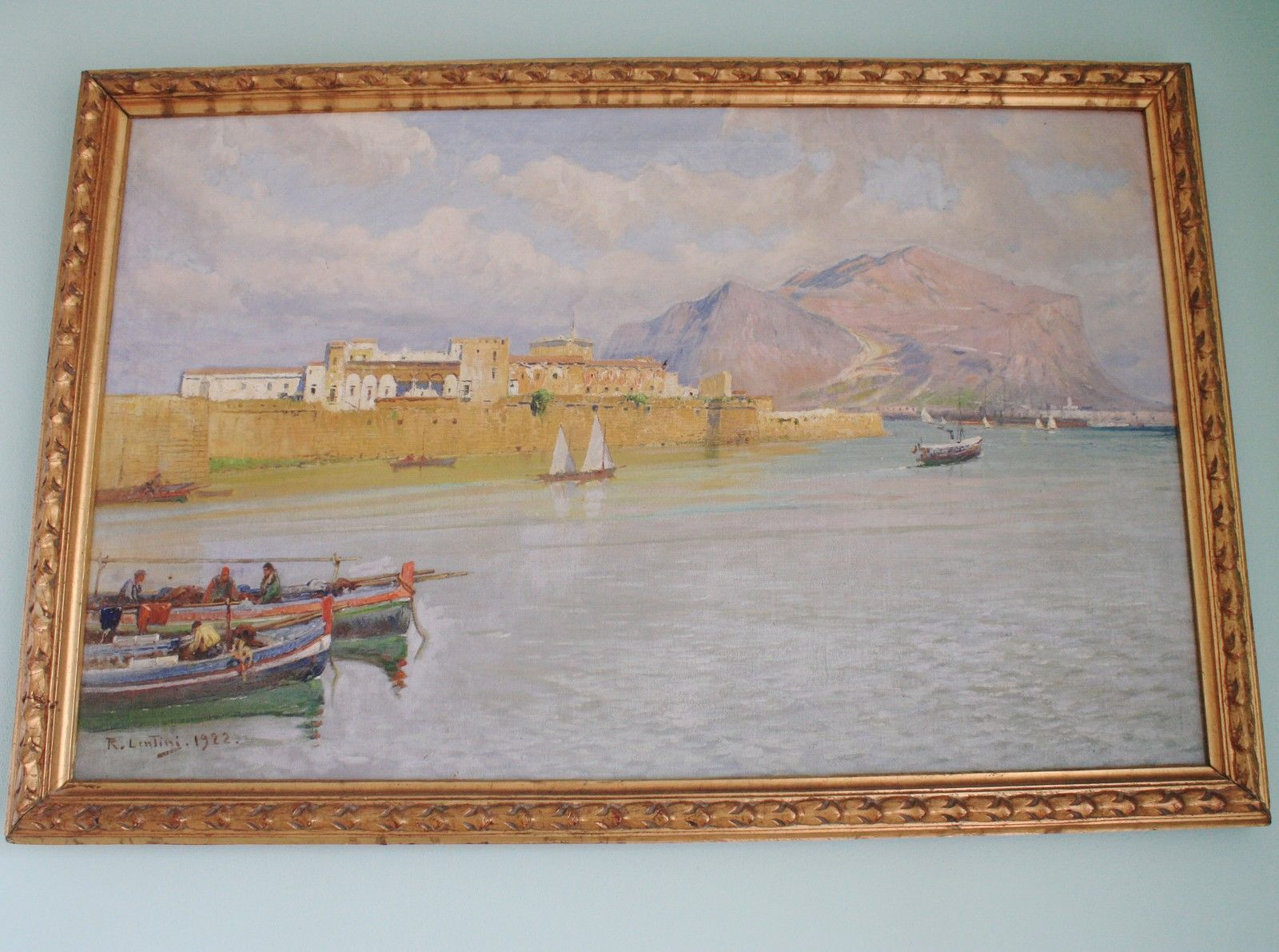 ITALIAN PAINTED BY ROCCO LENTINI (1858-1943) Of 1922, Sicily Landscape With Boat