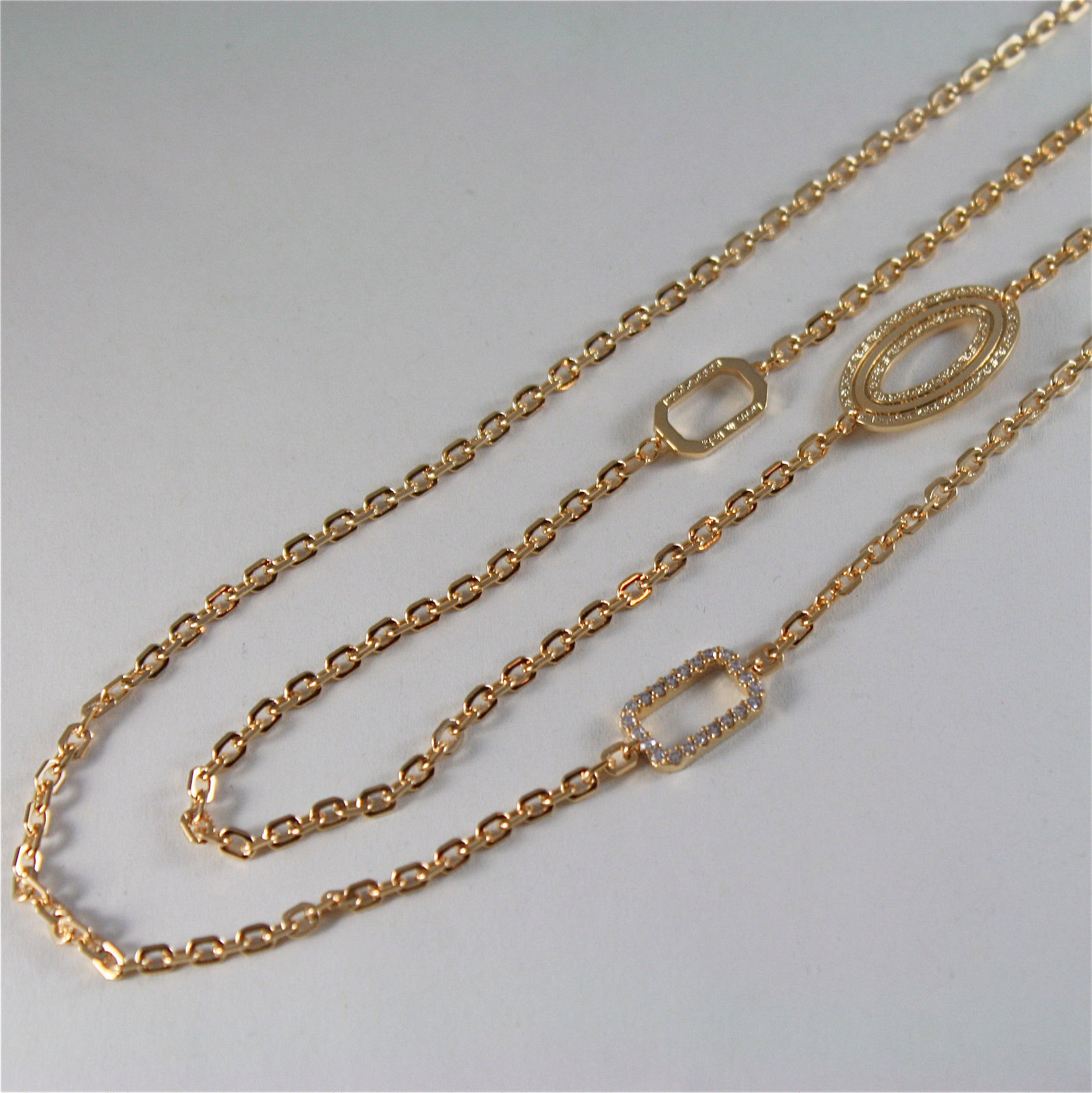 YELLOW GOLD PLATED BRONZE REBECCA NECKLACE ELIZABETH BELKOB05 MADE IN ITALY
