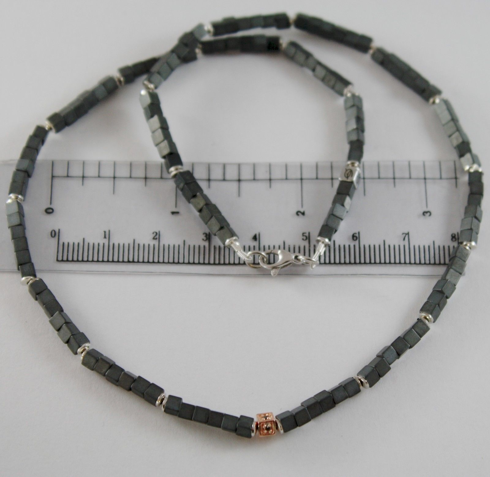 925 ROSE SILVER NECKLACE 4 BLACK DIAMONDS & CUBES OF MATT HEMATITE MADE IN ITALY