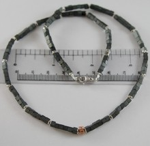 925 ROSE SILVER NECKLACE 4 BLACK DIAMONDS & CUBES OF MATT HEMATITE MADE ... - $189.05
