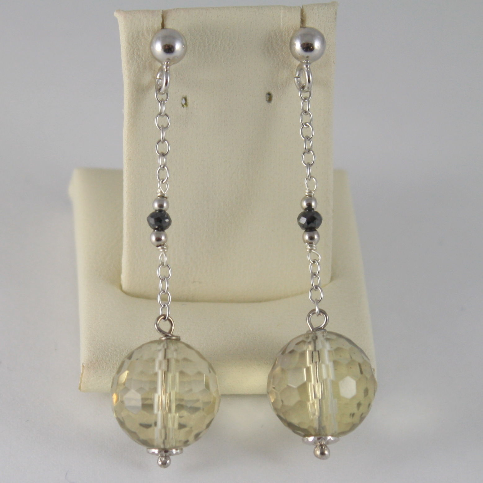 925 SILVER RHODIUM EARRINGS WITH BLACK DIAMONDS LEMON QUARTZ