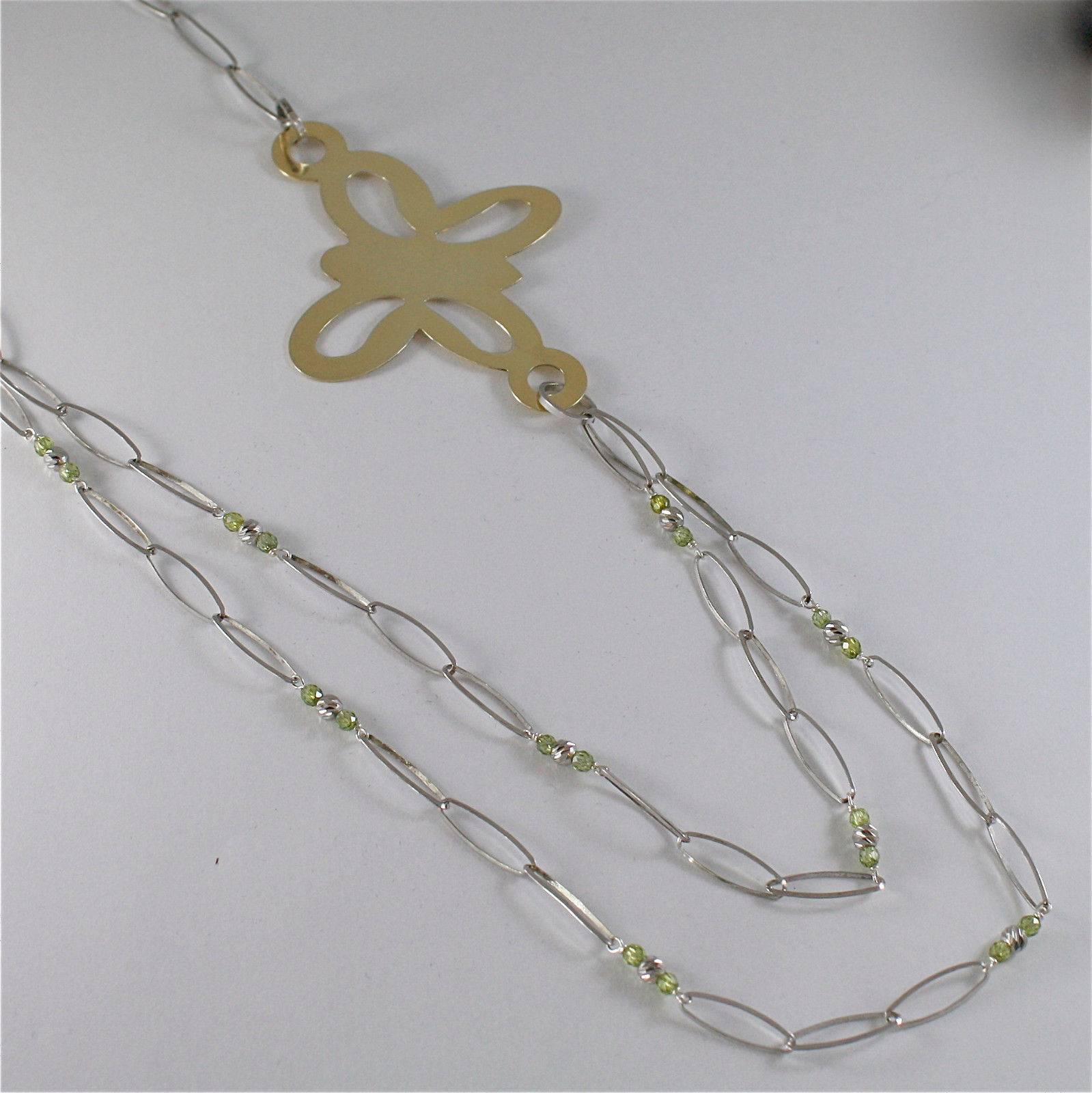 925 SILVER NECKLACE WITH MULTIFACETED BALLS AND BUTTERFLY, MADE IN ITALY 240 USD