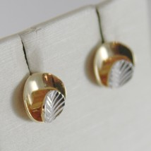 18K WHITE YELLOW GOLD ROUND EARRINGS FINELY WORKED, DOUBLE LEAF, MADE IN ITALY image 2