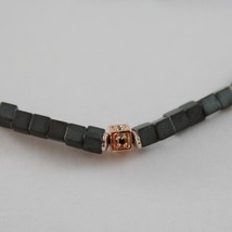 925 ROSE SILVER NECKLACE 4 BLACK DIAMONDS & CUBES OF MATT HEMATITE MADE IN ITALY image 2