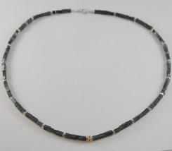 925 ROSE SILVER NECKLACE 4 BLACK DIAMONDS & CUBES OF MATT HEMATITE MADE IN ITALY image 3