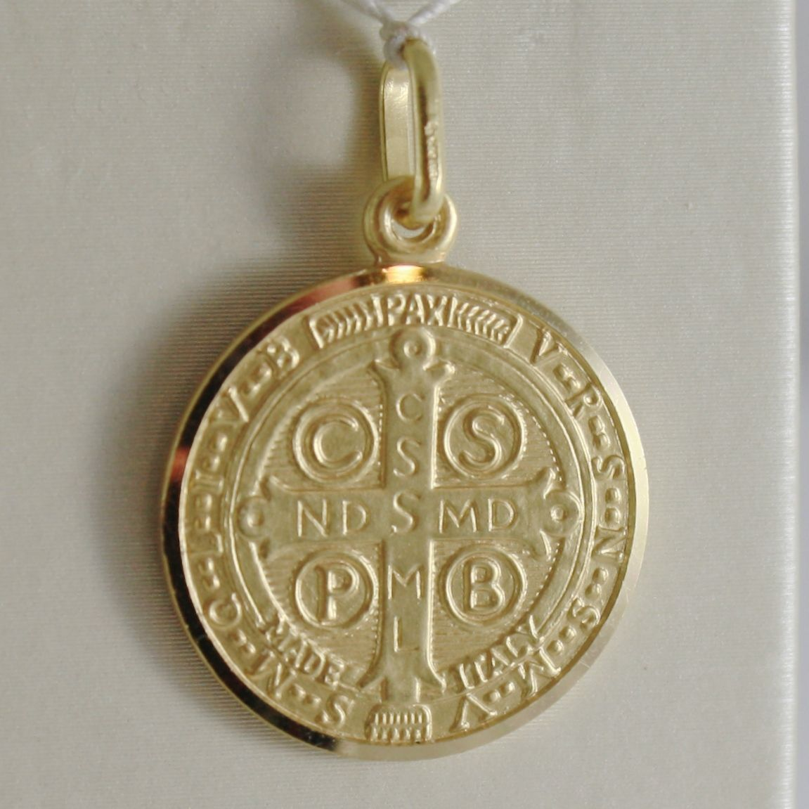 SOLID 18K YELLOW GOLD ST SAINT BENEDICT 19 MM MEDAL WITH CROSS, MADE IN ITALY
