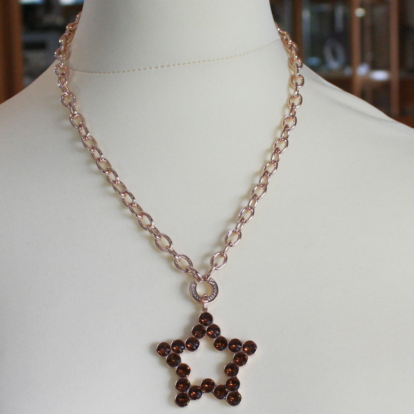 ROSE BRONZE REBECCA NECKLACE BIG STAR WITH BROWN CRYSTAL CT 20.00 MADE IN ITALY