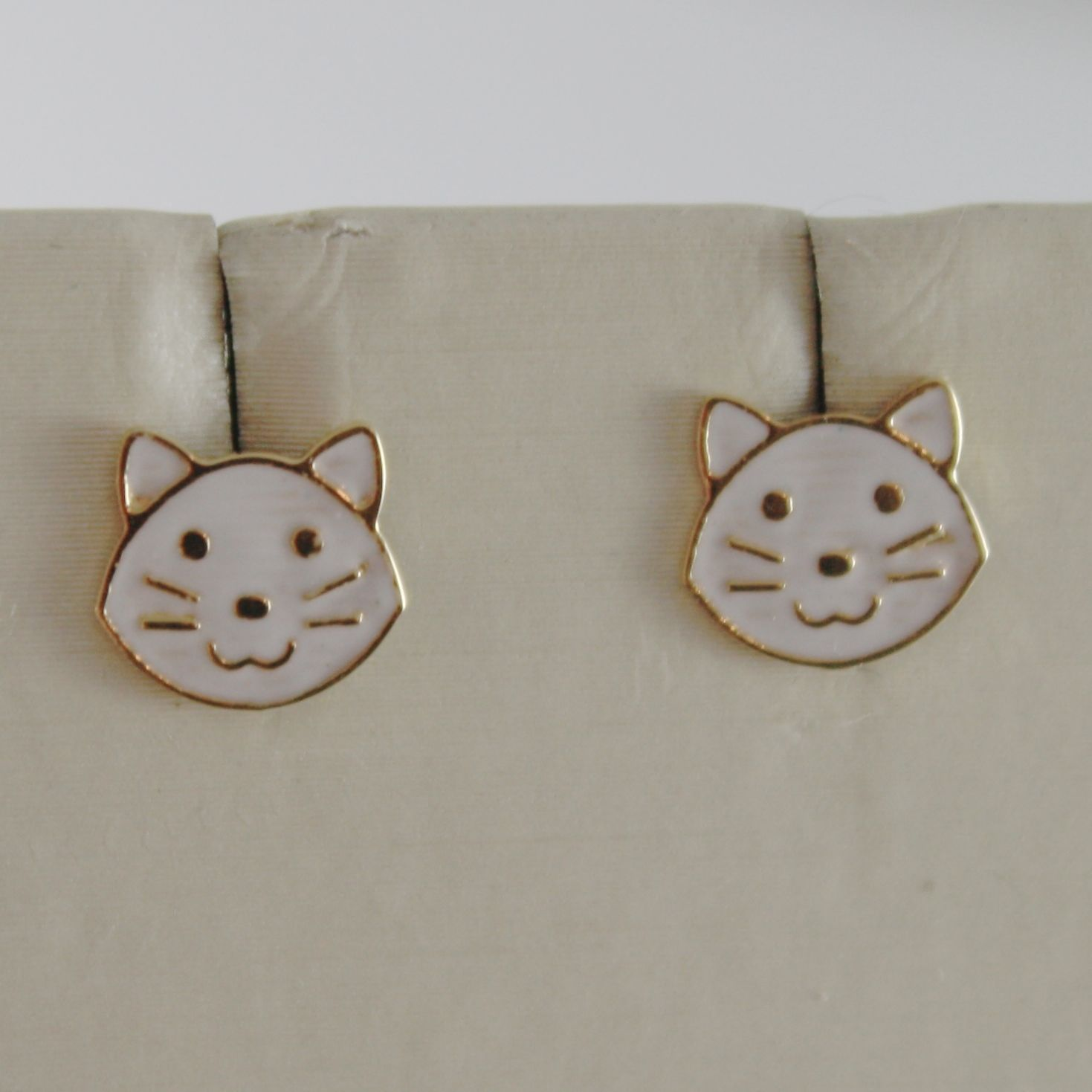 18K YELLOW GOLD PENDANT CHILD CAT EARRINGS GLAZED CATS, FLAT, MADE IN ITALY