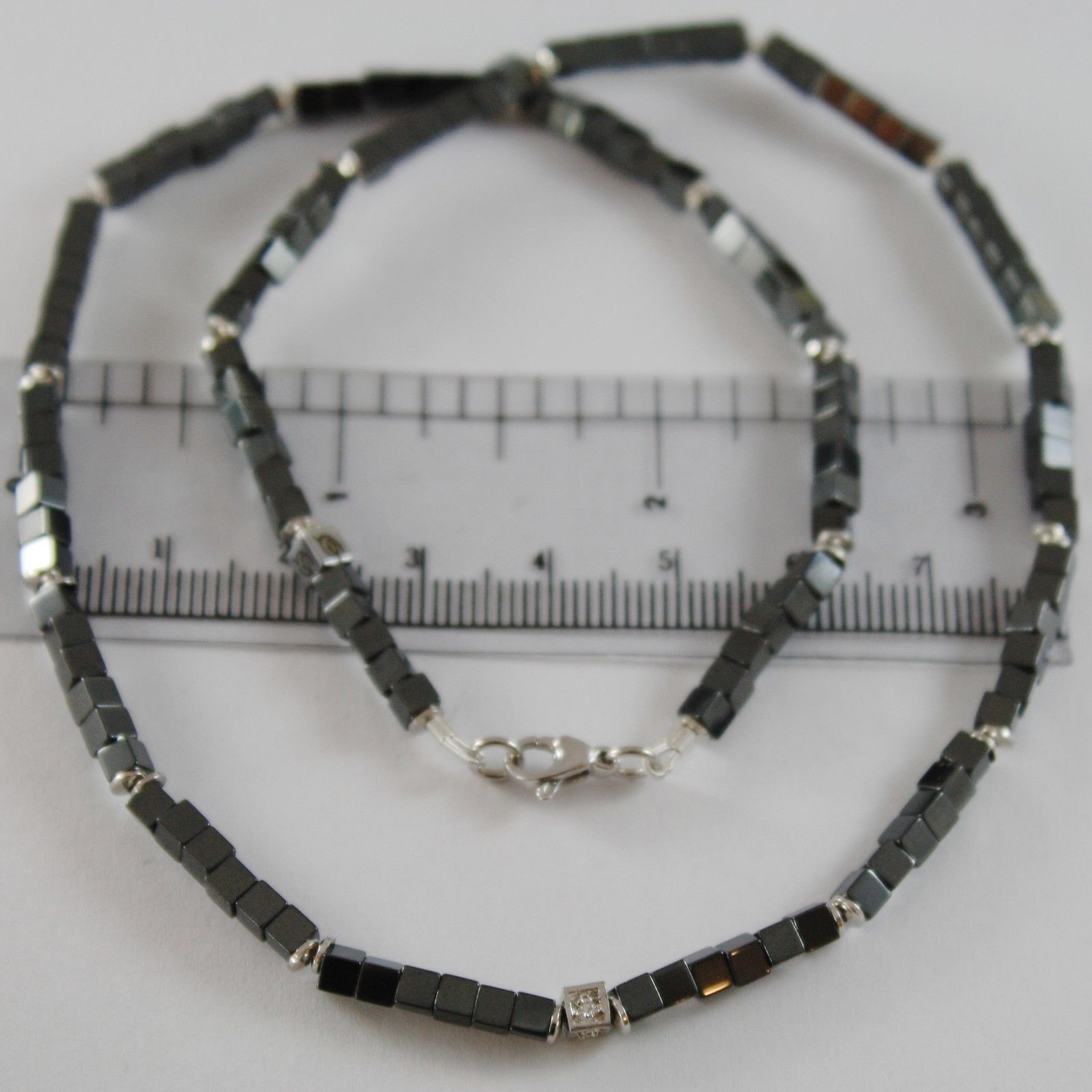 925 SILVER NECKLACE 4 WHITE DIAMONDS & CUBES OF SMOOTH HEMATITE MADE IN ITALY