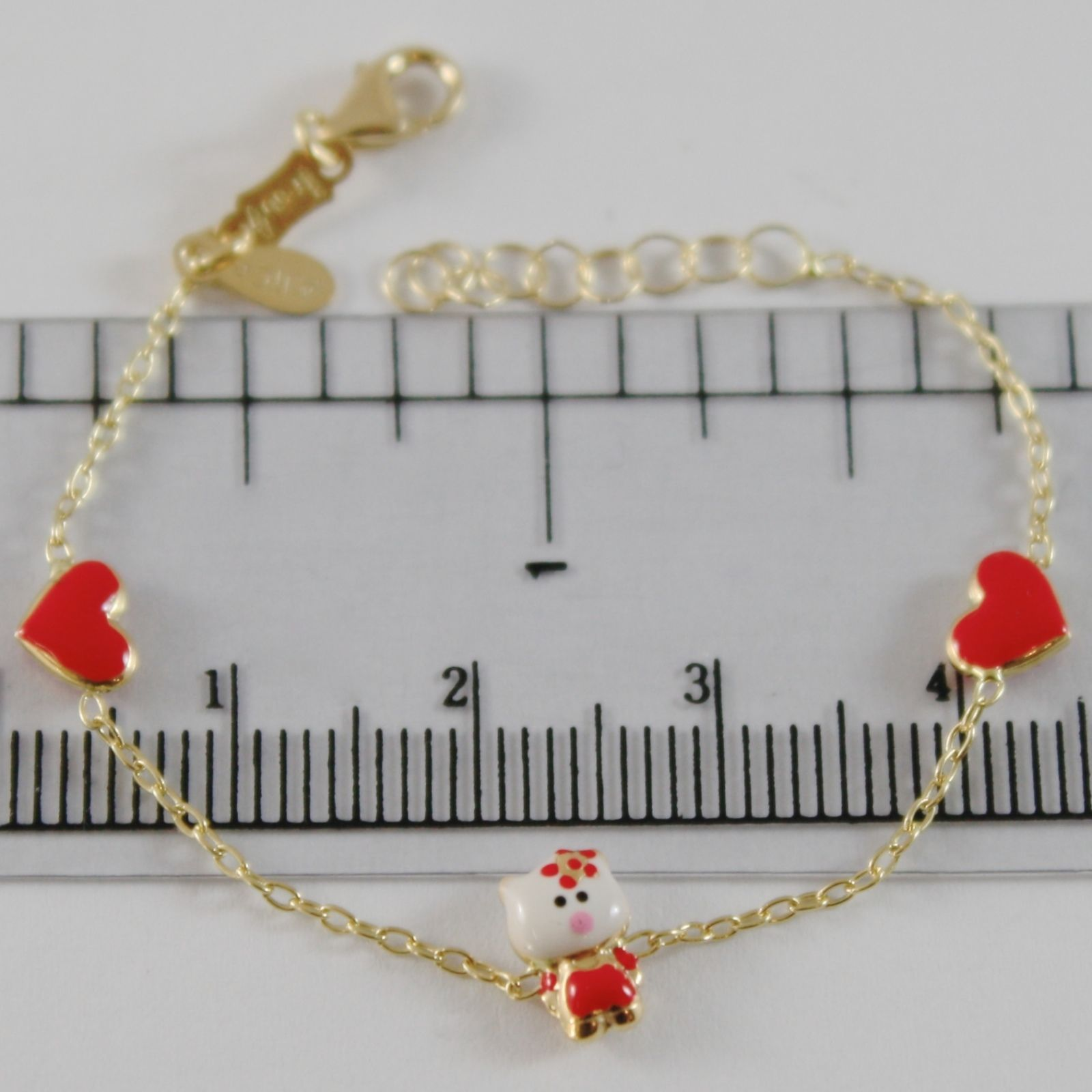 18K YELLOW GOLD GIRL BRACELET 5.50 INCH. GLAZED CAT HEART, ENAMEL, MADE IN ITALY