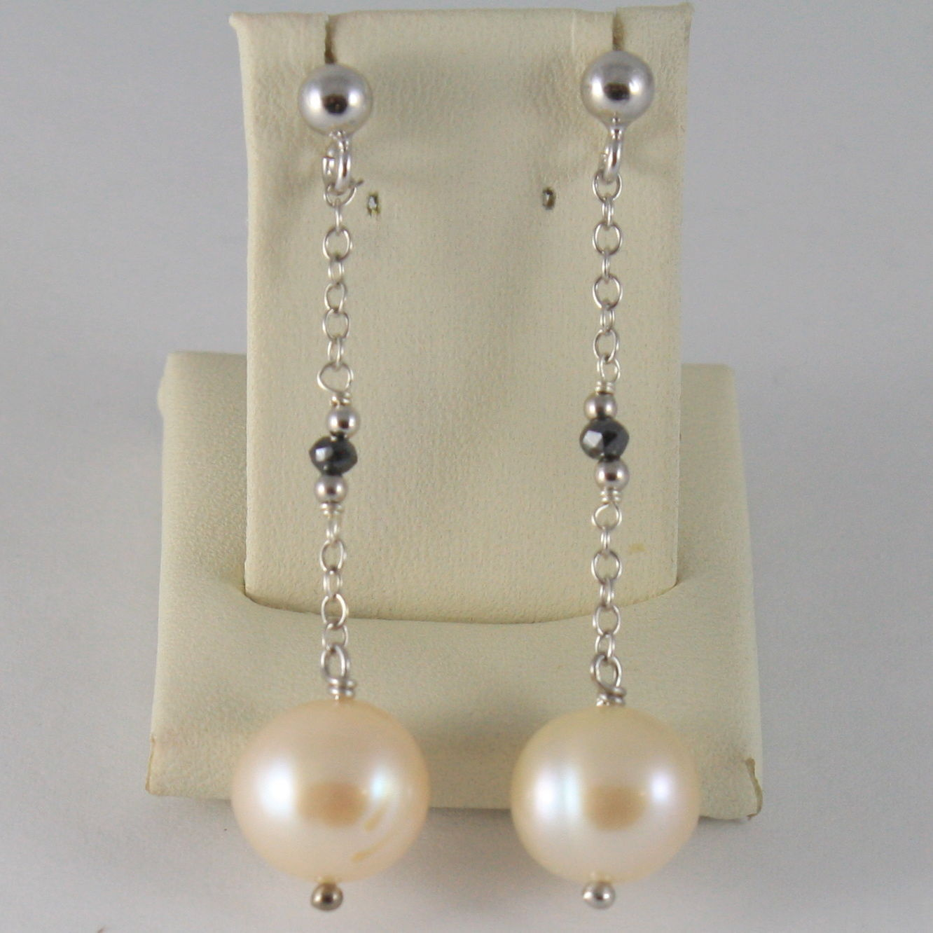 925 SILVER RHODIUM EARRINGS WITH BLACK DIAMONDS ROSE PEARL