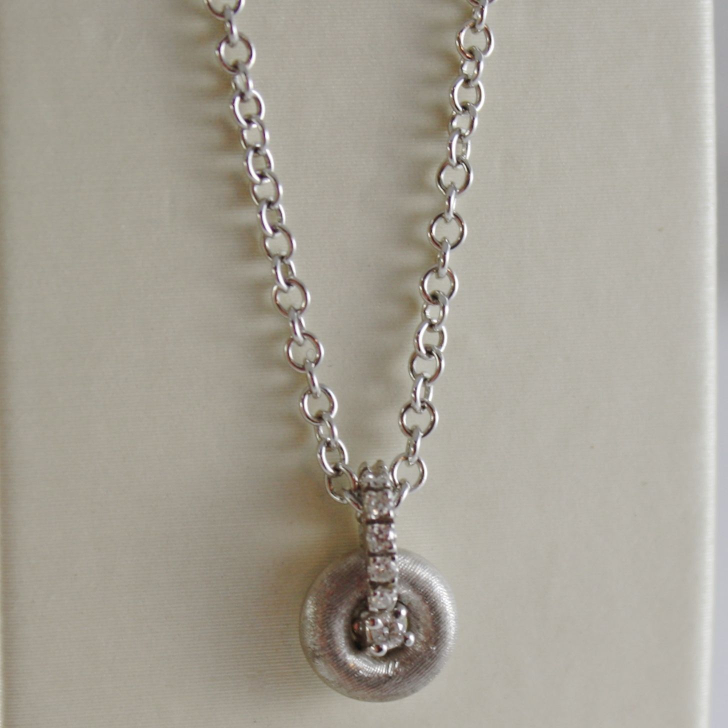 18K WHITE GOLD NANIS NECKLACE WITH DIAMOND 0.06 CT, ROLO CHAIN MADE IN ITALY