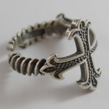 SOLID 925 BURNISHED SILVER BAND CROSS RING VINTAGE STYLE, LILY, MADE IN ITALY image 2