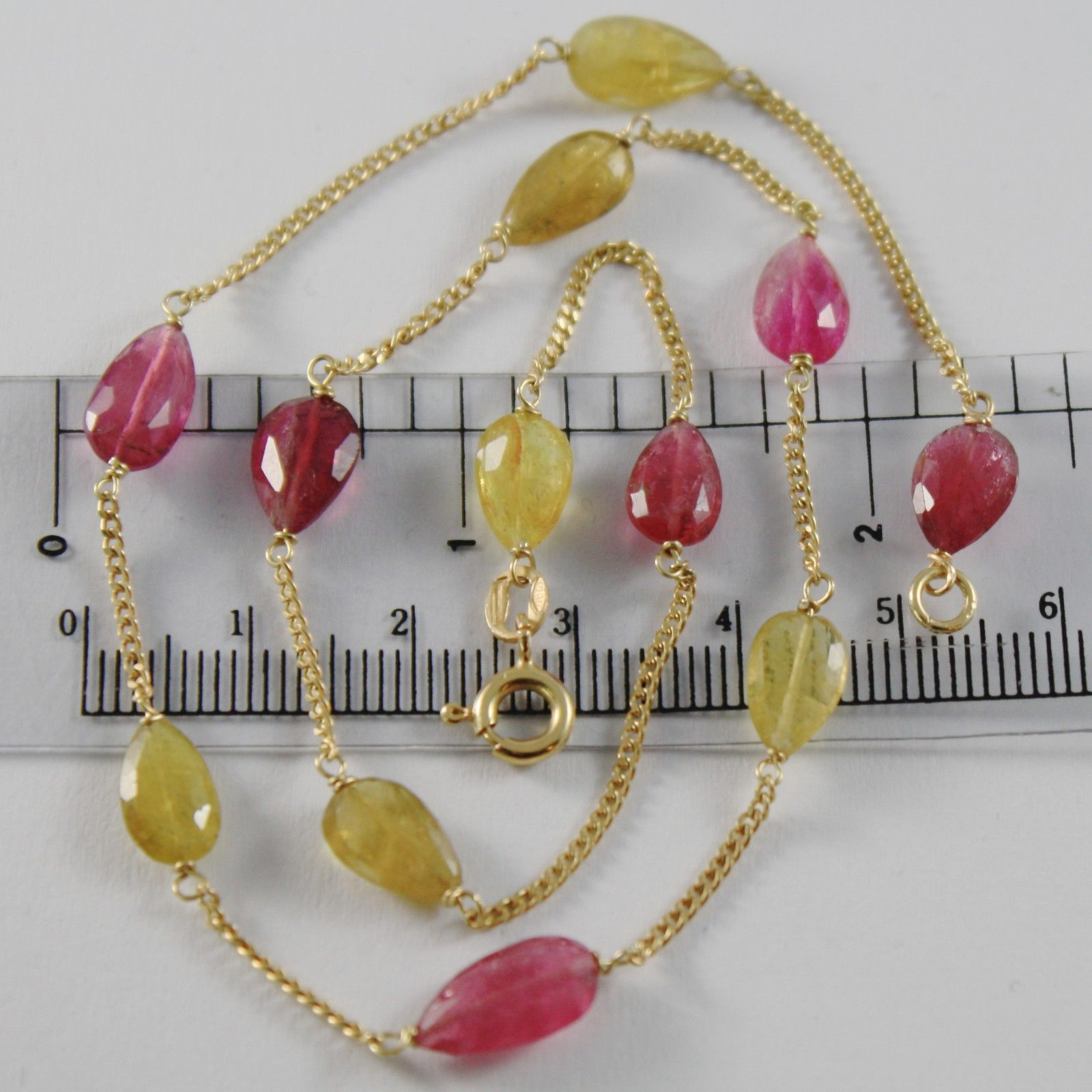 18K YELLOW GOLD MINI GOURMETTE CHAIN NECKLACE WITH DROP TOURMALINE MADE IN ITALY