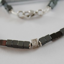 925 SILVER NECKLACE 4 WHITE DIAMONDS & CUBES OF SMOOTH HEMATITE MADE IN ITALY image 2