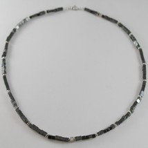 925 SILVER NECKLACE 4 WHITE DIAMONDS & CUBES OF SMOOTH HEMATITE MADE IN ITALY image 3