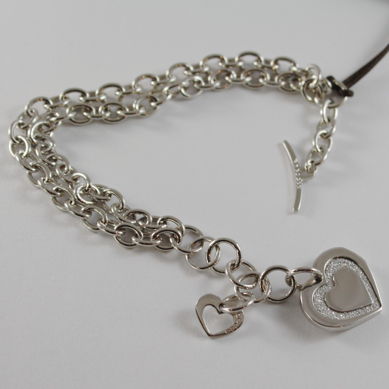 PLATED WHITE GOLD BRONZE REBECCA BRACELET WITH HEART PENDANT GLAM MADE IN ITALY