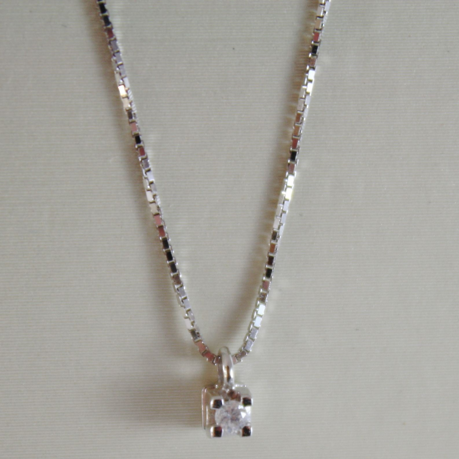 18K WHITE GOLD MINI NECKLACE WITH DIAMOND 0.03 CT, VENETIAN CHAIN MADE IN ITALY