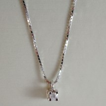 18K WHITE GOLD MINI NECKLACE WITH DIAMOND 0.03 CT, VENETIAN CHAIN MADE I... - $132.24