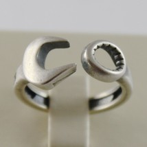 Solid 925 Burnished Silver Band Wrench Ring Vintage Style Made In Italy - $94.05