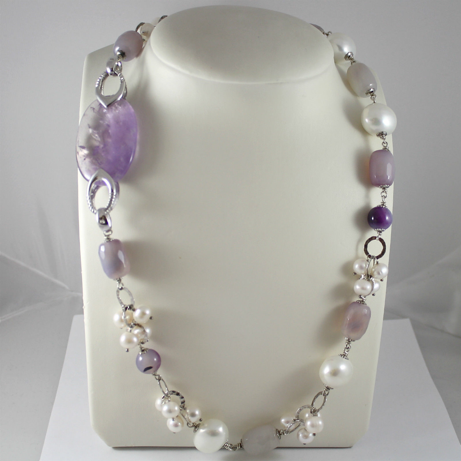 925 Silver Necklace Rhodium, Amethyst, Agate, White Pearls