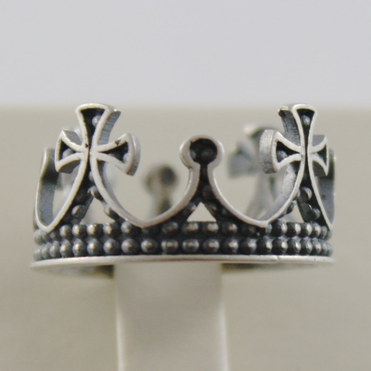 SOLID 925 BURNISHED SILVER BAND MEDIEVAL CROWN RING VINTAGE STYLE, MADE IN ITALY