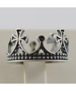 SOLID 925 BURNISHED SILVER BAND MEDIEVAL CROWN RING VINTAGE STYLE, MADE ... - $98.01