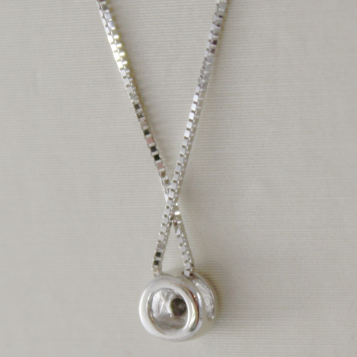 18K WHITE GOLD MINI NECKLACE WITH DIAMOND 0.04 CT, VENETIAN CHAIN MADE IN ITALY