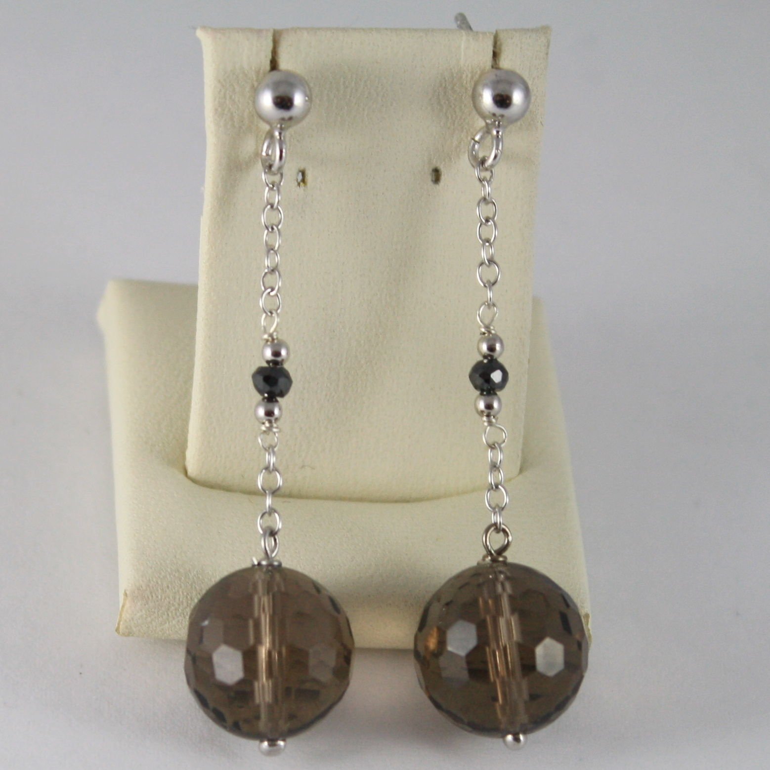 925 SILVER RHODIUM EARRINGS WITH BLACK DIAMONDS SMOKY QUARTZ