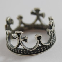 SOLID 925 BURNISHED SILVER BAND MEDIEVAL CROWN RING VINTAGE STYLE, MADE IN ITALY image 2