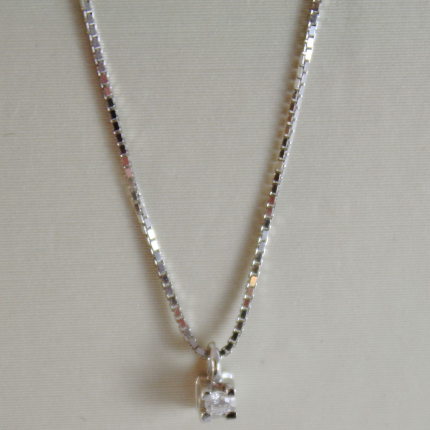 18K WHITE GOLD MINI NECKLACE WITH DIAMOND 0.01 CT, VENETIAN CHAIN MADE IN ITALY